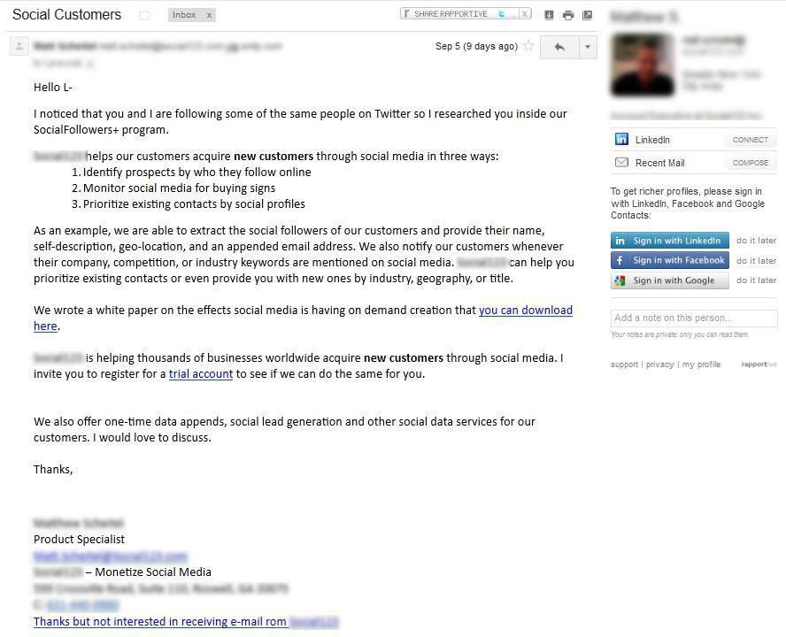 Screenshot of spammy type email