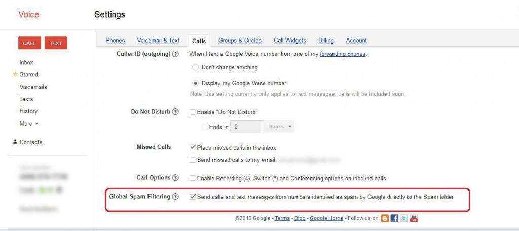 Screenshot Google Voice Contact configuration