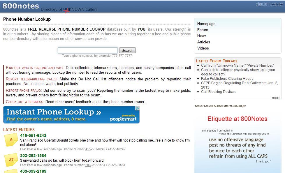 Screenshot of 800notes.com
