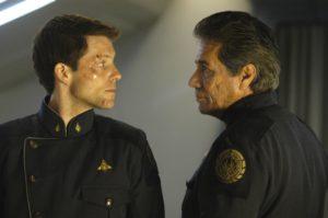 Bill and Lee Adama on Battlestar Galactica Leadership