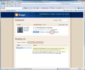 Blogger Dashboard targeting the Layout tab.