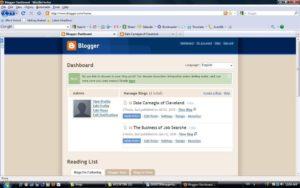 The Blogger Dashboard.