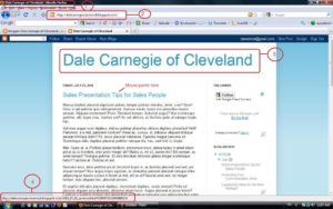 Screenshot Dale Carnegie sample blog revealing the blog structure.