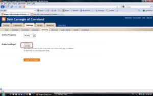 Screenshot Enabling page posts.
