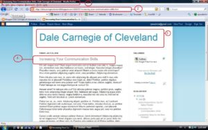 Screenshot Dale Carnegie sample blog with a separate page for the blog post.